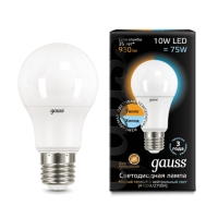 Лампа Gauss LED A60 10W E27 930lm 3000K/4100K CTC 1/10/50
