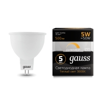 Лампа Gauss LED MR16 GU5.3-dim 5W 500lm 3000K  диммируемая 1/10/100
