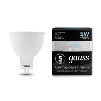 Лампа Gauss LED MR16 GU5.3-dim 5W 530lm 4100K  диммируемая 1/10/100