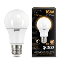Лампа Gauss LED A60 16W E27 1380lm 3000K 1/10/50