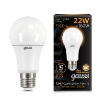 Лампа Gauss LED A70 22W E27 1560lm 3000K 1/10/50