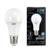 Лампа Gauss LED A70 22W E27 1640lm 4100K 1/10/50