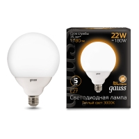Лампа Gauss LED G125 E27 22W 1780lm 3000K 1/24